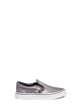 Main View - Click To Enlarge - Vans - 'Classic' metallic cracked leather kids slip-ons