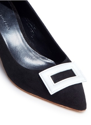 Detail View - Click To Enlarge - Fabio Rusconi - Leather buckle appliqué suede pumps