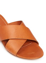 Cross vamp leather flat sandals