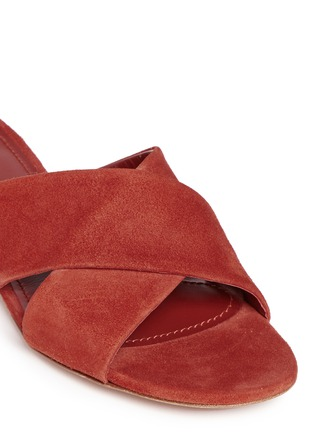 Detail View - Click To Enlarge - Mansur Gavriel - Cross vamp suede flat sandals