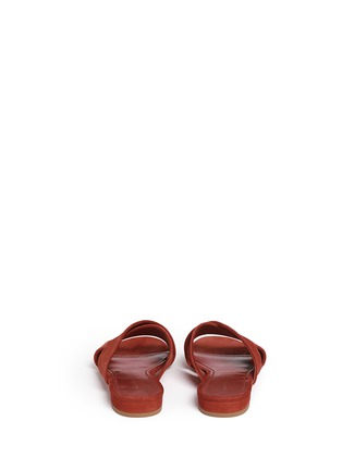 Back View - Click To Enlarge - Mansur Gavriel - Cross vamp suede flat sandals