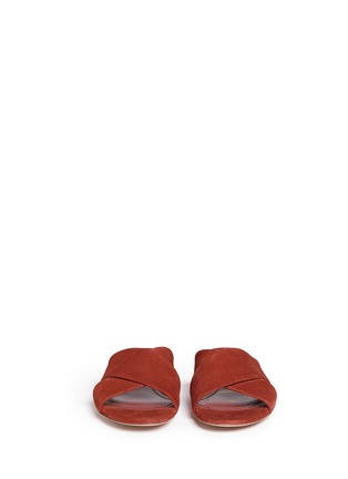 Front View - Click To Enlarge - Mansur Gavriel - Cross vamp suede flat sandals