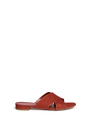 Main View - Click To Enlarge - Mansur Gavriel - Cross vamp suede flat sandals