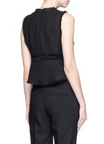 Frayed tweed sleeveless peplum top