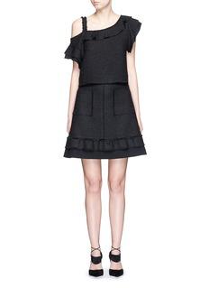 PROENZA SCHOULERCrepe trim frayed tweed A-line skirt