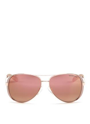 Main View - Click To Enlarge - Michael Kors - 'Chelsea' coated metal aviator sunglasses