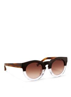 3.1 PHILLIP LIMx Linda Farrow horn effect colourblock acetate round sunglasses