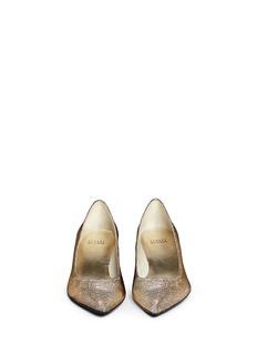STUART WEITZMAN'Discopoco' diamanté heel glitter lamé pumps