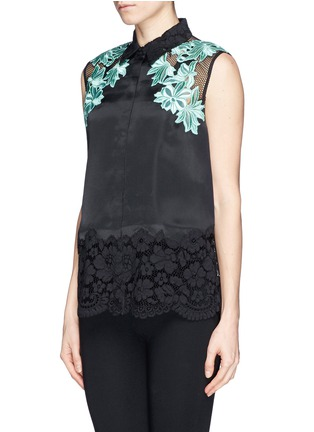 Front View - Click To Enlarge - 3.1 Phillip Lim - Floral appliqué satin finish silk organza  blouse
