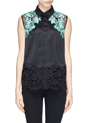 Main View - Click To Enlarge - 3.1 Phillip Lim - Floral appliqué satin finish silk organza  blouse