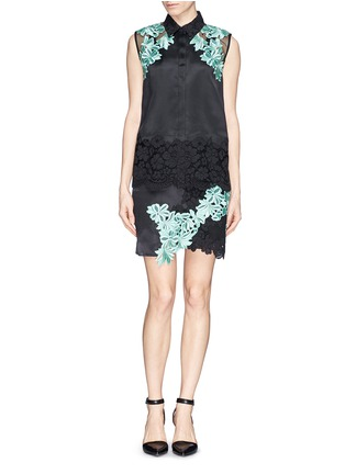 Figure View - Click To Enlarge - 3.1 Phillip Lim - Floral appliqué satin finish silk organza  blouse