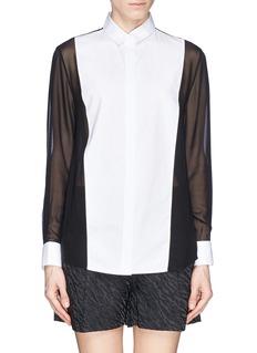 3.1 PHILLIP LIM'Tuxedo' Oxford silk chiffon shirt