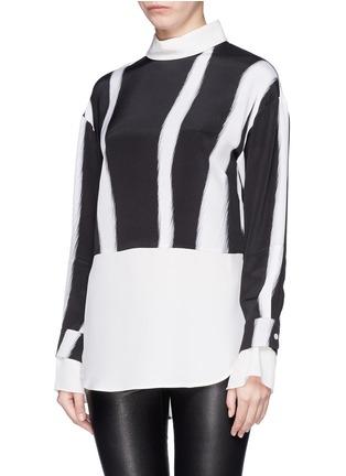 3.1 PHILLIP LIM-Layered sleeve stripe print shirt
