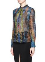 Rainbow crocodile print silk blouse