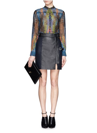 Figure View - Click To Enlarge - McQ Alexander McQueen - Rainbow crocodile print silk blouse