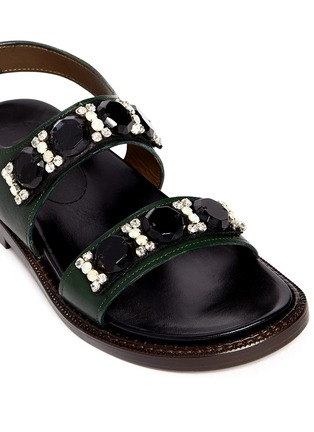 Detail View - Click To Enlarge - Marni - Crystal strap leather sandals