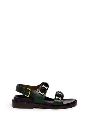 Main View - Click To Enlarge - Marni - Crystal strap leather sandals