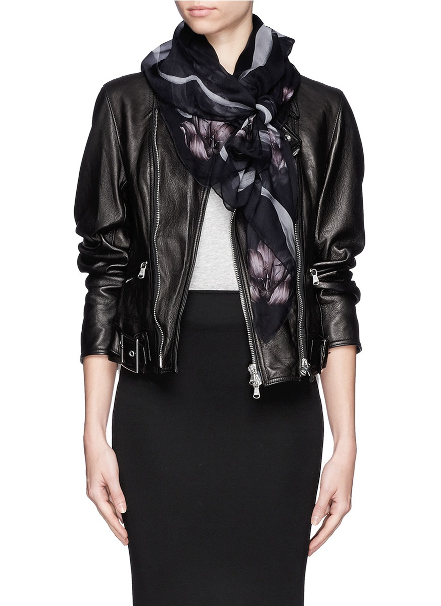 mcqueen skull silk scarf on sale
