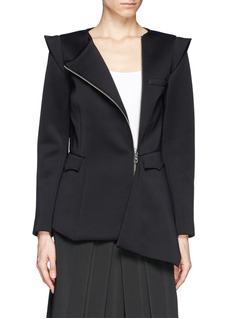 HELEN LEE Neoprene peplum asymmetric zip jacket