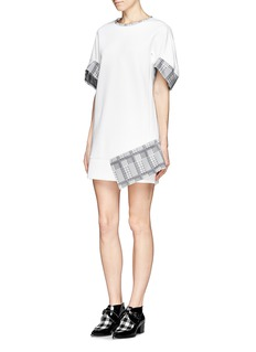 HELEN LEE Asymmetric hem rabbit houndstooth trim shift dress