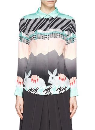 Main View - Click To Enlarge - HELEN LEE - Oriental rabbit print silk shirt