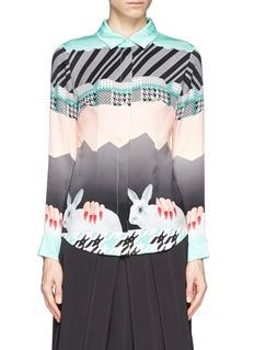 HELEN LEEOriental rabbit print silk shirt