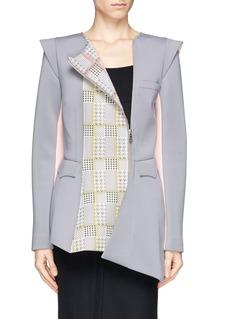 HELEN LEERabbit houndstooth asymmetric zip colourblock jacket