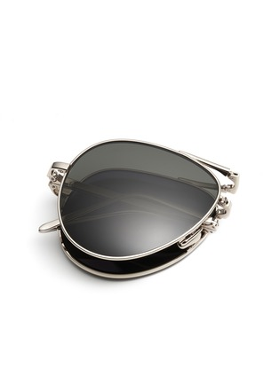 Detail View - Click To Enlarge - Linda Farrow - Titanium folding aviator sunglasses
