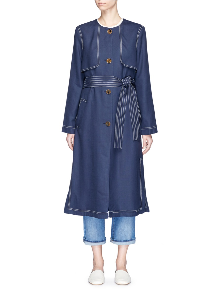 Isadora topstitch belted trench coat by Khaite