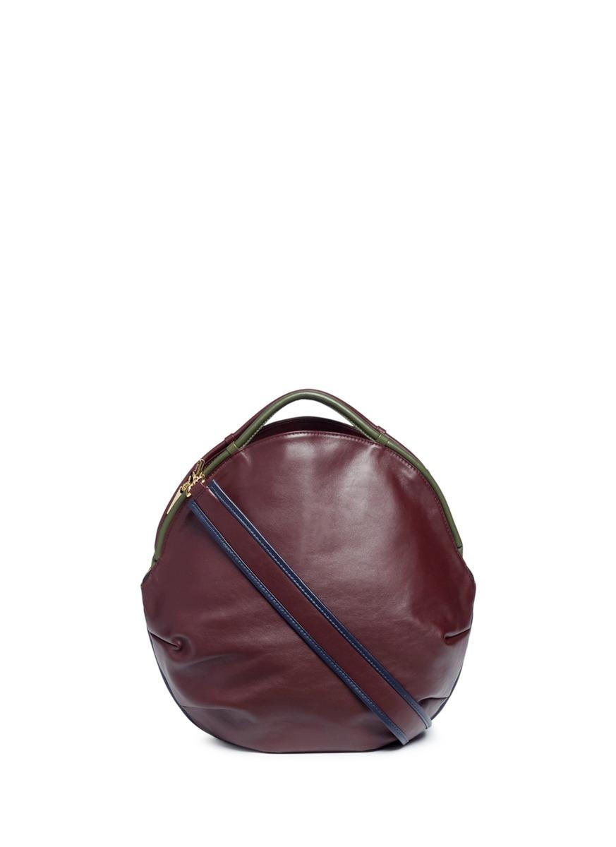 Petal Pure split handle colourblock leather bag by A-Esque