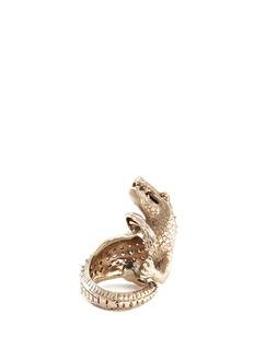 Delfina DelettrezDiamond 18k white gold crocodile ring