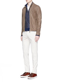 ISAIAContrast front rib knit jacket