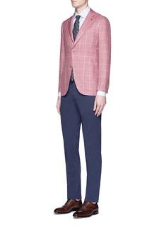 ISAIA'Sailor' check plaid wool-silk-linen blazer
