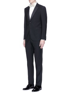 LardiniDiamond jacquard bib tuxedo shirt