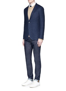 Lardini Cotton-flax textured knit soft blazer