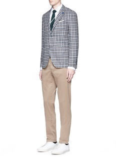 Lardini Check wool blend bouclé soft blazer