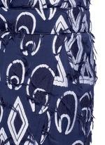 Geometric frayed jacquard dropped crotch pants