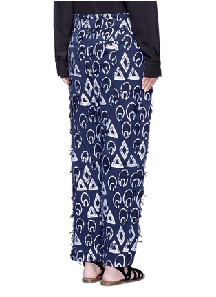 Back View - Click To Enlarge - Chloé - Geometric frayed jacquard dropped crotch pants
