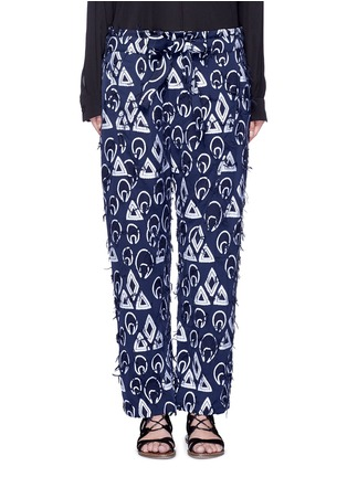 Main View - Click To Enlarge - Chloé - Geometric frayed jacquard dropped crotch pants