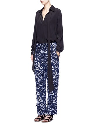 Figure View - Click To Enlarge - Chloé - Geometric frayed jacquard dropped crotch pants