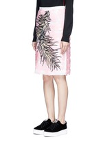 Sequin leaf embroidery lace pencil skirt