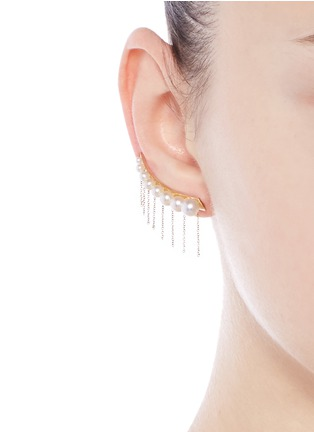 Sophie Bille Brahe - x sacai 001 short chain fringe pearl single creeper earring