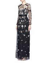 'Woodland' lace trim embellished tulle maxi dress