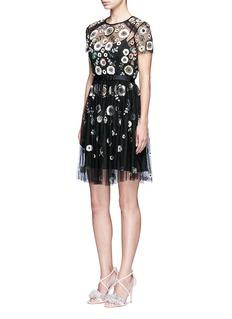 Needle & Thread'Woodland' lace trim embellished tulle dress