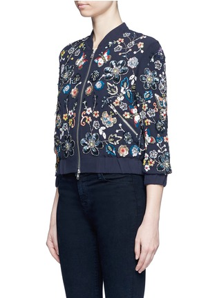 Front View - Click To Enlarge - Needle & Thread - 'Butterfly Garden' floral embellished bomber jacket