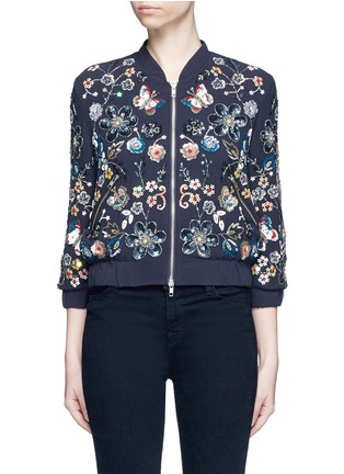 Main View - Click To Enlarge - Needle & Thread - 'Butterfly Garden' floral embellished bomber jacket