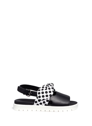 Main View - Click To Enlarge - MOTHER OF PEARL - 'Ordell' spot bow leather sandals