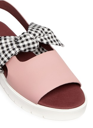 Detail View - Click To Enlarge - MOTHER OF PEARL - 'Ordell' gingham check bow leather sandals