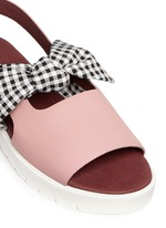 'Ordell' gingham check bow leather sandals