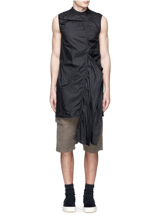 Main View - Click To Enlarge - Rick Owens DRKSHDW - 'Spliced' ruffle hem crinkle nylon sleeveless top